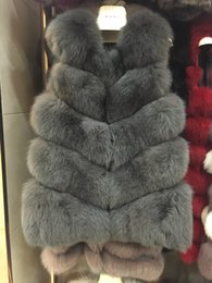 Wholesale Button Neck Warmer - 100% real fox fur vest full pelt fox fur vest women coat