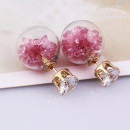 Wholesale Transparent Stud Earrings - Transparent Glass Crystal Ball Earrings Double Sided shiny beads Stud earings fashion crystal Jewelry For Women