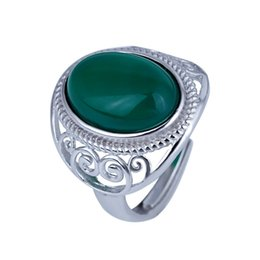 Anéis de jade tamanho on-line-100% S925 prata das mulheres da moda anel de jade Natural Pode ser ajustado tamanho Encantos Anéis Anéis de Pedras Preciosas