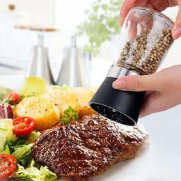 Wholesale Condiment Bottles Wholesale - Salt and Pepper mill grinder Glass Pepper grinder Shaker Spice Salt Container Condiment Jar Holder New ceramic grinding bottles