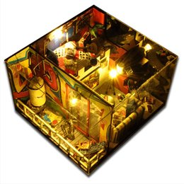 Wholesale 3d Wooden Puzzle House - Wholesale-Doll House With Dust Cover Diy miniature 3D Puzzle Wooden Dollhouse miniaturas Furniture House For Dolls Birthday Gifts Toys