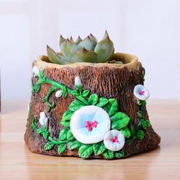 Wholesale Artificial Decorative Trees - new succulents pots Decorative Creative Resin Artificial tree stump flower pots plant vase Garden Supplies home decoration Crafts wholesale
