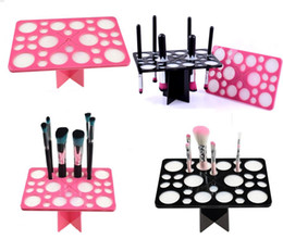 Wholesale acrylic square stand - Hot black pink Makeup Brush Tree Acrylic Brushes Drying Holder Stand Display Rack Cosmetic Tool