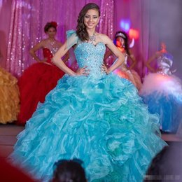 Wholesale Beautiful Beaded Ball Gown - Beautiful Ball Gown Sky Blue Quinceanera Dresses Crystals Sweetheart Ruffles Organza Sweet 16 Prom Debutantes Gowns vestidos de 15 anos 2016