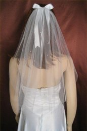Wholesale Tulle Bow Veil - hot sale lace wedding veils 1T high quality white Ivory Cut Edge Veil With Bow for Wedding