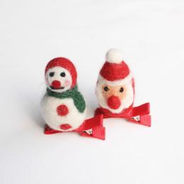 Wholesale Baby Snow Gloves - 2017 Christmas Santa Claus baby Hair Clips Cartoon Red Glove Hairpin Snow Green Gloves Kid Handmade Girls Wool Hairpins Snowman 10pcs lot
