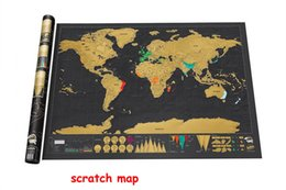 Wholesale Vinyl Decorative Christmas Stickers - Deluxe Black Scratch World Map Edition Vintage Retro Decorative Poster Geography Teaching Fun Toy Travelers Children Kids Christmas Gift