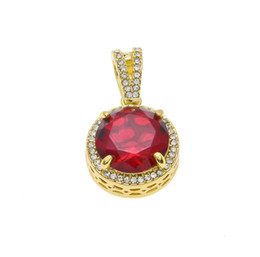 mens stone pendant necklace Coupons - Mens Iced Out Hip Hop Mini Round Ruby Pendant Necklace Red Stone Charm Cuban Link Chain Necklaces