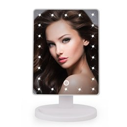 Wholesale Makeup Mirror Battery - 22LEDs Touch Screen Makeup Mirror Professional Vanity Mirror Lights Health Beauty Adjustable Countertop 180 Rotating