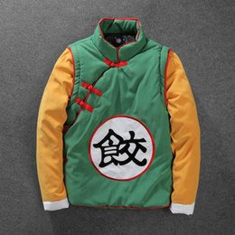 Wholesale Classic Casual Jacket Men - Cartoon Dragonball Jacket For Men Classic Stitching Color Baseball Jersey Jackets Winter COSPLAY Hood Coat Cotton Clothes Free Shipping