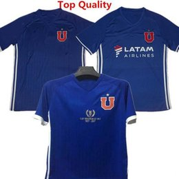 Wholesale U S Yellow - La U home blue Soccer Jersey 2017 Los Leones 90 years Soccer Shirt Customized 17 18 de la Universidad de Chile football uniform Sales