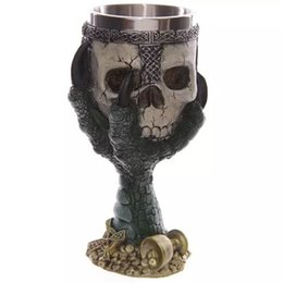 Wholesale Lens 3d Blue - High Quality 3D Skull Pattern High Heel XmasTea Coffee Wine Cup Fashion DIY Designer Home Party Hotel Bar Christmas Decoration