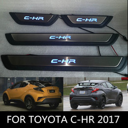 Wholesale Led Door Sill Plates - Car LED Lights Door Sills for TOYOTA C-HR 2017 Stainless Steel Door Sills Scuff Plate fit for C-HR 2017