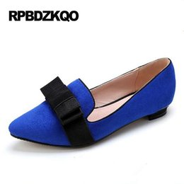 Wholesale Chinese Blue Point - Size 42 Slip On Bow Women Dress Shoes Flats Plus Party Blue 11 Large Loafers Ladies China Pointed Toe Chinese Suede Latest