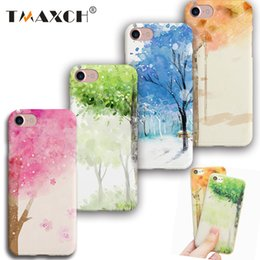 Wholesale Apple Tree Girl - Soft Natural Trees Scenery Silicone Case Cover for capinhas iphone 7 6 6s plus 6plus Watercolor Art Phone Covers Girls