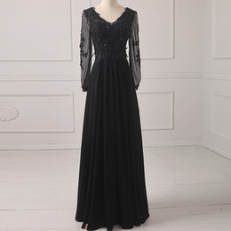 Wholesale Black Long Sleeve Chiffon Dress - Elegant V Neck Chiffon Tulle Evening Dress With Pearls Black 2018 See Through Back Evening Gowns With Long Sleeves