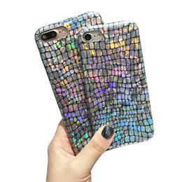 Estojo de prata on-line-Caso macio colorido do laser da textura do crocodilo de Bling para IPhone7 7plus 6 6S mais tampas da prata de TPU