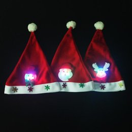 Wholesale Applique Patterns Kids - Non Woven Kids Christmas Hat With Led Light Cartoon Applique Santa Deer Snow Pattern Hats Christmas Holiday Supplies ELCD028