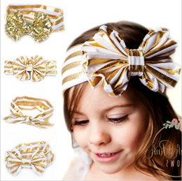 Wholesale Gold Headband Bow - Newest Girls Shiny Paillette Headbands big bows Kids Bowknot hairband Children Headwear hair accessories Baby gold stamp Hair Band KHA365