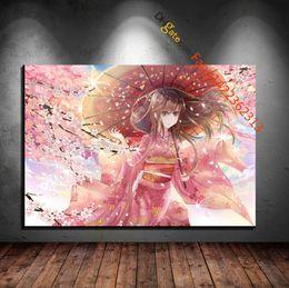 "Wholesale Original Paintings Impressionist Landscapes - "" Cherry Blossom Japanese Clothes Kimono Original Characters Pink Umbrella"" Premium Art Print. (Unframed)"
