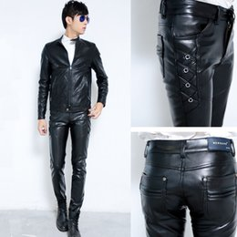 Wholesale Leather Pants Zippers Mens - Wholesale-New Mens Elastic Faux Leather Pants PU Motorcycle Ridding Black Slim Fit Trousers For Male