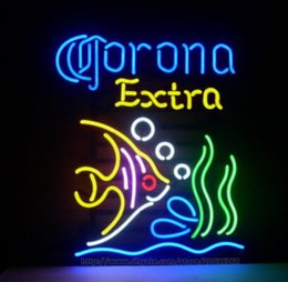 "Wholesale Bar Signs Corona - Corona Extra Tropical Fish Mexico Handcrafted Neon Light Sign Display Advertisement Sign Real Glass Tube Sign Club Bar KTV Sign 19""X15"""