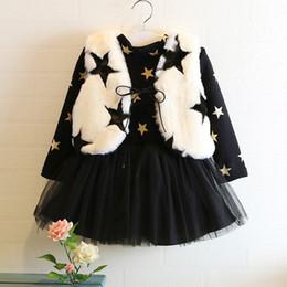 Wholesale Coat Tutu Dress Outfits - Kids Girls Sets 2-7Year Baby Girls Fur Vest Coat + Star Print Dress 2pcs Suits 2017 Winter Infant Princess Outfits Children Clothing B907