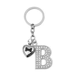 Wholesale B Letter Pendant - Bone in Heart Urn Keychain White Diamond Letter B Pendant Memorial Ash Keepsake Cremation Jewelry Stainless Steel