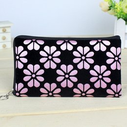 Wholesale Makup Bag - Wholesale-New Floral Print Women Lady Cute Cosmetic Coin Cellphone Pouch Bag Purse Wallet Makup Bags