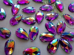 Wholesale Drop Plastic Crystal Beads - Sew on Loose Beads Crystals Purple AB colour Rhinestones Accessories For Hand Sewing Stones 150pcs 11*18mm drop shape flatback