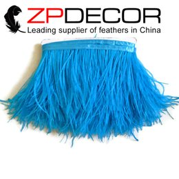 Wholesale Colored Ostrich Feathers Wholesale - China Trading Manufacturer ZPDECOR Factory 10-15cm(4-6 inch) Colored Turquoise Ostrich Feather Fringe Wholesale for Cocktail Dress