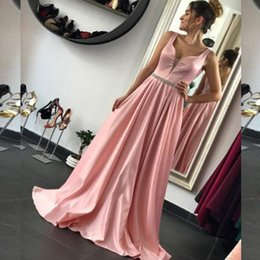 Wholesale Cheap Unique Satin Gowns - Stunning Blush Pink Prom Dress Unique V Neck Sleeveless A Line Prom Dresses Long Formal Evening Party Gowns Cheap Custom Made