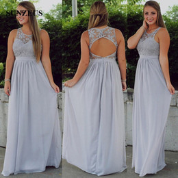 Wholesale Tank Scoop Bridesmaid Dresses - Long Grey Chiffon Bridesmaid Dresses Lace Bodice Sexy Keyhole Back Women Formal Dress A-line Scoop Tank Wedding Party Gowns Cheap