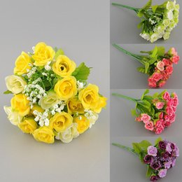 Wholesale Artificial Mini Silk Flowers - Multi Color 21 Head Artificial Mini Flower Fake Silk Flower Arrangement Wedding Party Home Garden Decoration