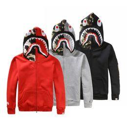 Wholesale Zipper Hoodie Sweaters Wholesale - Japanese styles Shark Hoodie Men Women fashion Harajuku Cool fun Cartoon Sweater Jacket WGM Full Zip Hoodie Fleece Cardigan Sweatshirt Coat