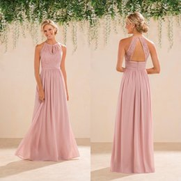 Wholesale Halter Blush Prom - 2016 New Jasmine Bridal Blush Pink Bridesmaid Dresses Country Style Halter Neck Lace Chiffon Full Length Formal Prom Party Gowns Custom Made