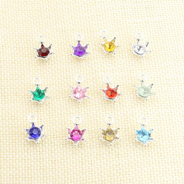 Wholesale Handmade Crafted Birthday - 12pcs lot Silver Plated Colorful Crystal Crown Birthday Stone Charms Pendants for Jewelry Making DIY Handmade Craft 11x16mm