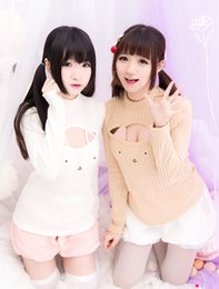 Wholesale Girl Shirts Wool - Wholesale-Harajuku cat knitted sweater lolita cute cat pierced shirt women blouse winter pink sexy hooded woolen warm sweaters for girls