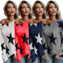 Wholesale Cheap Sweatshirts For Women - One Shoulder Star Printed Cotton T-Shirts For Women Crew Neck Loose Sweatshirt Long Sleeve Tee Tops Wholesale Cheap DHL Fast Shipping