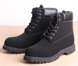 Wholesale Black White Heeled Boots - Autumn winter men women shoes Genuine Leather warm snow boots waterproof Casual Military shoes Martin shoes,zapatos mujer