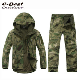 Wholesale Hunting Clothes Green - TAD Military Softshell Outdoors Men Hoodies Waterproof Sport Army Shark Skin Hunting Clothes Set Military Jacket + Pants
