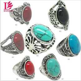 Wholesale Tin Models Wholesale - MIXED model MIX color turquoise stone ring blue red black green 17 18 19 20 four size antique silver plated Gemstone ring for women