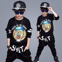 Wholesale Tiger Clothing For Girls - 2017 Tiger head Spring and Summer Leisure Suits For Boys and Girls, Long-sleeved T-shirt+Pants Two Pieces Suit Kids Tiger Pattern Clothes