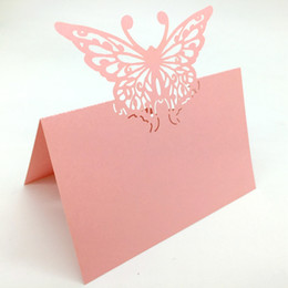 Wholesale Butterfly Name Place Cards - Typy_2 200pcs Laser Cut Hollow Butterfly Paper Table Card Number Name Place Card For Party Wedding Decorate Customization