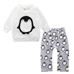 Wholesale Animal Print Pants For Kids - INS Baby Set Penguin Print T-shirt Pants Suit for 0-2Y European Style Infant 2016 Fall Winter Kid Clothes Sweatshirt Leggings 2pcs Sets New