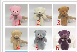 Wholesale Ems Bow Tie - EMS 6 color 12cm Kids Plush pendant diy bow tie Bear pendant Lovers Stuffed Animals figure birthday present Bear Plush dolls gift toys