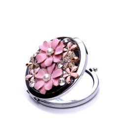 Wholesale Double Sided Vanity - Mini beauty flower pocket mirror portable double dual sides stainless steel frame cosmetic mirrors makeup vanity D108201