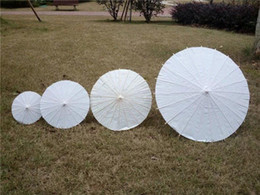 Wholesale White Bamboo Parasols - bridal wedding parasols White mini paper umbrellas Chinese mini craft umbrella 4 Diameter 30 40 60 84cm wedding favor decoration wa3915