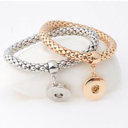 Wholesale Pcs Stretch Bracelet - 50 pcs NOOSA Style Single Snap Stretch Metal Bracelet For 18mm Chunk Charms Ginger Snaps Style