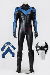 Wholesale Nightwing Costumes - Free Shipping Apparel Theme Cloth High Quality Halloween Chrismas Cosplay Batman Young Justice Nightwing Costume Full Set